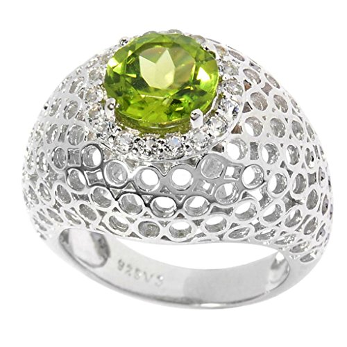 Sterling Silver 2.4ct TGW Peridot and White Topaz Cut-out Dome Ring (White Ring Dome Topaz)