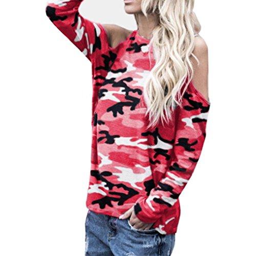 Sunhusing Women Off-Shoulder Camouflage Long-Sleeve Shirt Casual Sweatshirt Pullover Blouse