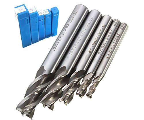 - 4 6 8 10 12mm HSS CNC Straight Shank 4 Flute Endmill Milling Cutter Drill Bit Tool Set 5Pc/1Pc