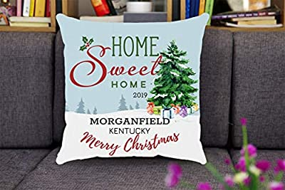 Merry Christmas Pillow Covers 18x18 - Home Sweet Home 2019 Morganfield Kentucky State - Christmas Tree Throw Pillow Covers, Holiday Xmas Decorations Gift For Family