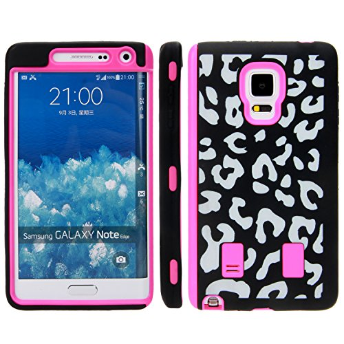 NOTE 4 edge Case, GALAXY NOTE 4 edge case, E LV GALAXY NOTE 4 edge Case Full Body Hybrid Armor Protection Defender Case Cover - Dual Layer Armor Protective Case Cover for Samsung GALAXY NOTE 4 edge - LEOPARD HOT PINK