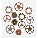 Idea-Ology Metal Sprocket Gears .75 To 1 12/Pkg-Antique Nickel, Brass & Copper