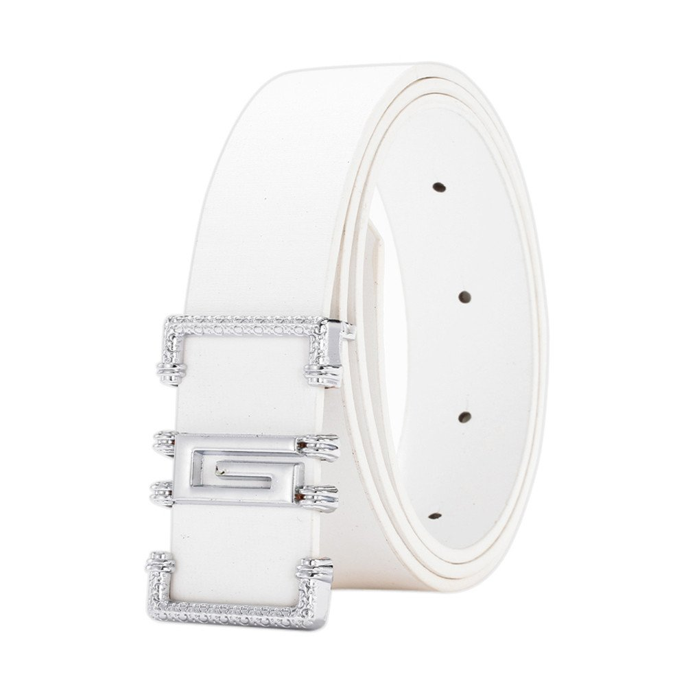 Men's Ratchet Belt,Fashion Waist Belt Outdoor Leather Dress Belt Casual Smooth Girdle Zulmaliu (White)