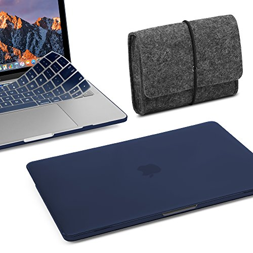 GMYLE MacBook Pro 13 Inch Case 2018 2017 2016 A1989 A1708 A1706 New Touch Bar 3 in 1 Bundle, Plastic Hard Shell, Fabric Storage Bag Travel Pouch for Accessories, Keyboard Cover Set - Navy Blue