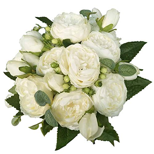 (Artificial Flower Fake Silk Peony Flowers Wedding Bouquet Bridesmaid Bridal Party Centerpieces Decoration, Ivory, 4 Pack)
