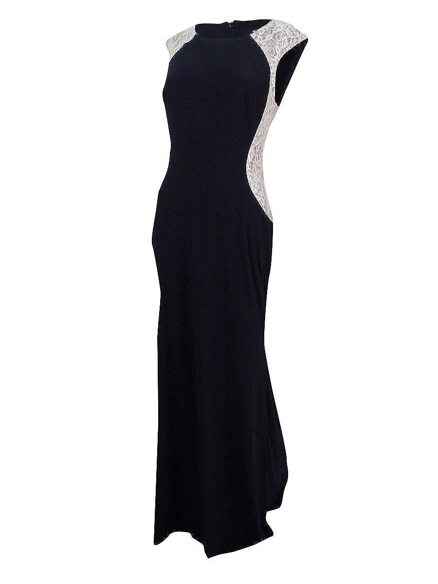 X by Xscape Womens LaceTrim ALine Evening Dress Black 14