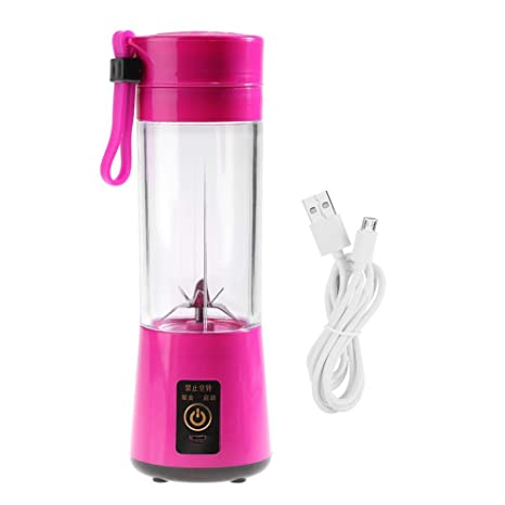 Zerodis 350-400ML Mini batidora eléctrico Exprimidor Portátil USB Recargable Juicer Batidor de Frutas Fruta Blender con 6 Hojas(Rosy)