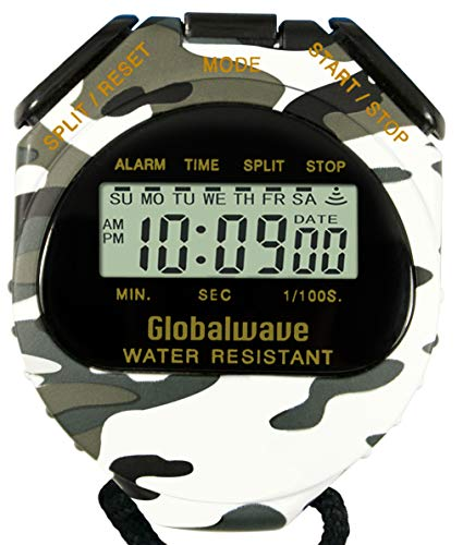 Globalwave Chronograph Water Resistant Stop Watch Waterproof Stopwatch Timer, Large Display for Fitness Swimming Outdoor School Training and Military use (Snow Camouflage) by Globalwave