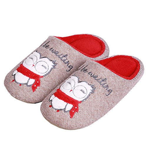 Non red Toe Indoor Mens Slippers Soft Washable coffee Home Flat Bedroom Warm Shoes Slip Cartoon YUTIANHOME Closed 1YpaAxSwqa
