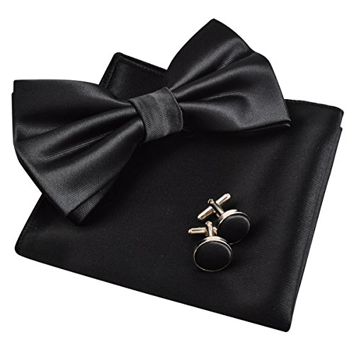 Alizeal Hanky Tie Set Mens Black Cufflinks and Tuxedo Bow rqwFCfr