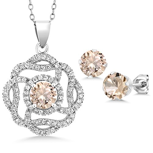 - 3.86 Ct Round Peach Morganite 925 Sterling Silver Pendant Earrings Set