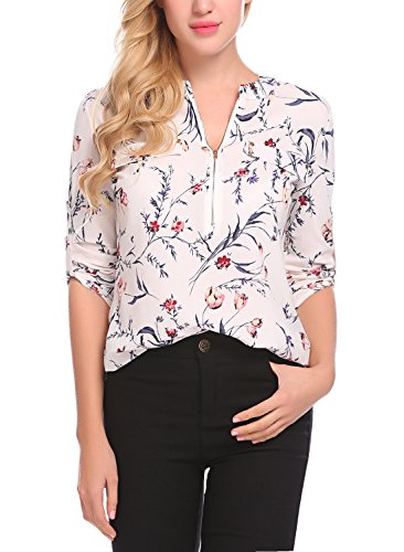 Lomon Women Blouse Floral Print Henley Casual Roll-up Long Sleeve Chiffon Shirt Top With Zipper Office Clothes
