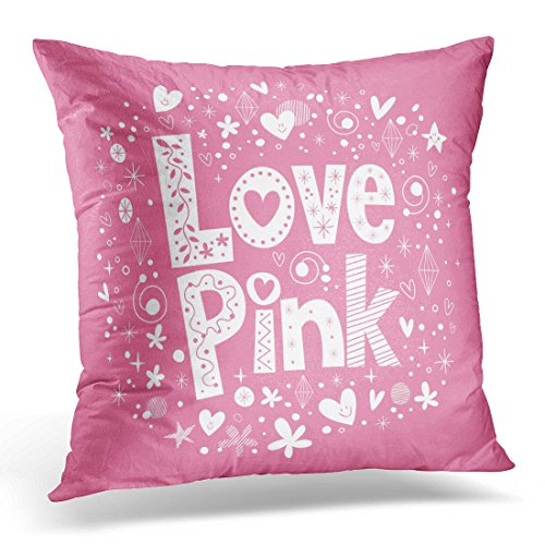 UPOOS Throw Pillow Cover Girly Love Pink Letters Abstract Girl Sweetheart Decorative Pillow Case Home Decor Square 18x18 Inches Pillowcase
