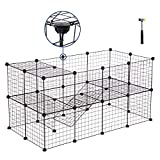 SONGMICS Pet Playpen Includes Cable Ties, Metal Wire Apartment-Style Two-Storey Bunny Fence and Kennel, Comfortable Pet Premium Villa for Guinea Pigs, Rabbits,Puppy,Indoor Upgrade ULPI02H