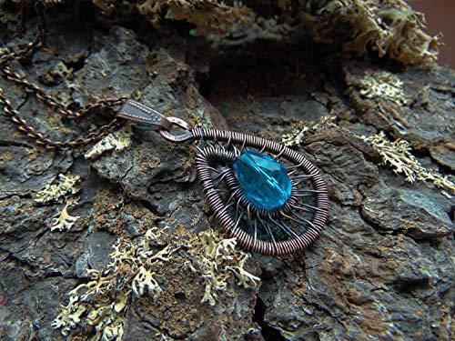 - baken Goth Pendant, Copper Pendant, Blue Crystal Pendant, Victorian Pendant, Wire Wrapped Pendant, Elven Pendant, Fantasy Pendant