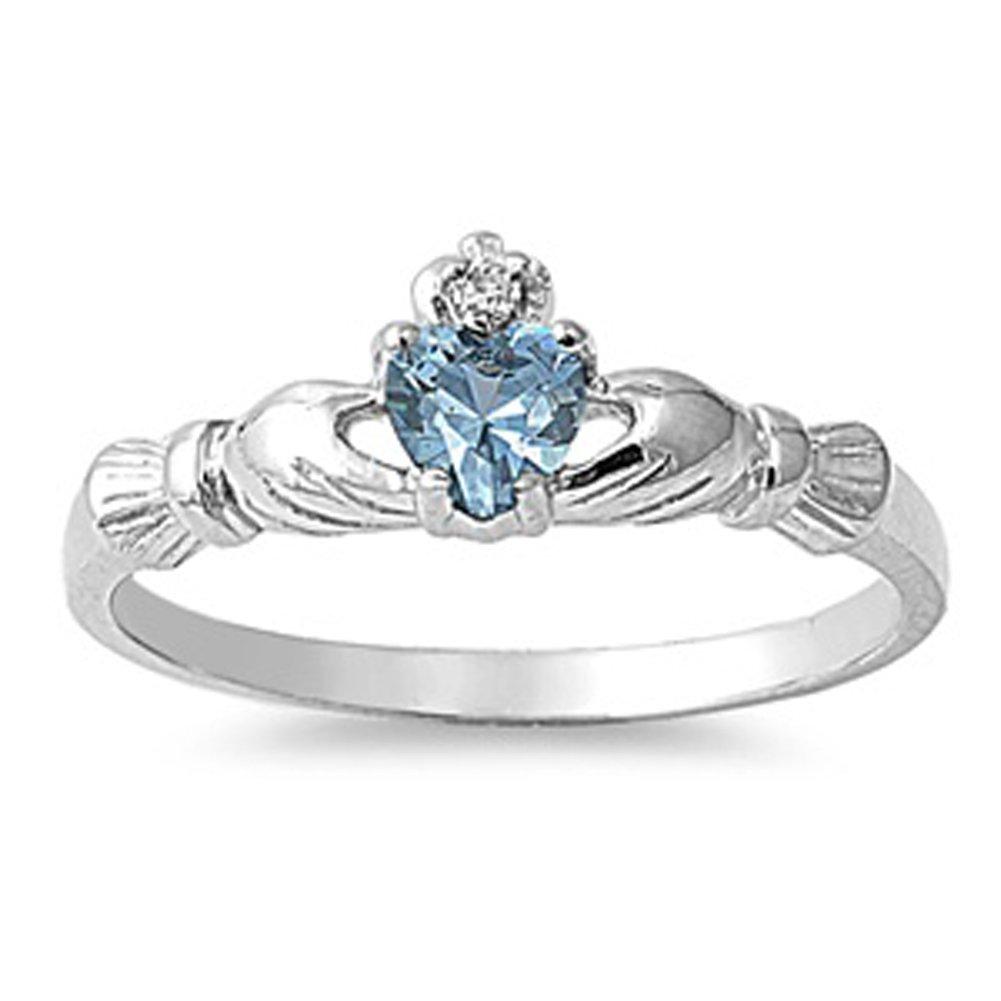 Sterling Silver Irish Claddagh Friendship Ring Simulated Aquamarine Heart Sizes 1-9 Sac Silver