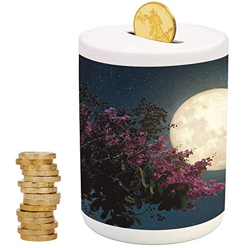 iPrint Moon,Ceramic Child Bank,for Party Decor Girls Kid's Children Adults Birthday Gifts,Cherry Blossom with Stars from Milky Way Eastern Night Sky Full - Savvy Bank Pig