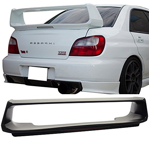 Trunk Spoiler Fits 2002-2007 Subaru Impreza | OE Style ABS Unpainted With 3RD Brake Light Trunk Boot Lip Spoiler Wing Deck Lid By IKON MOTORSPORTS | 2003 2004 2005 2006
