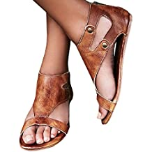 Womens Sandals Flat Ankle Buckle Gladiator Thong Flip Flop Casual Summer Shoes