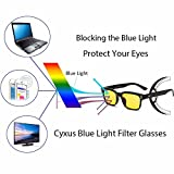 Cyxus Blue Light Filter [Better Sleep] Block UV Yellow Lens Glasses, Anti Fatigue Blocking Headaches Eye Strain, Computer Reading Eyewear, Great for Cell Phone Readers(Black Frame)