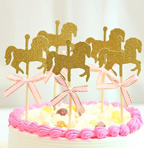 Cake Decoration Supplies Pink Merry-Go-Round Horse Cake Topper Carousel Happy Birthday Cake Bunting Topper Cake Topper with Carousel Birthday or Anniversary Party Decoration