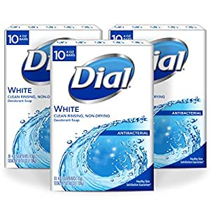 Dial Antibacterial Bar Soap, White, 4 Ounce, 30 Bars