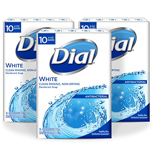 Dial Antibacterial Bar Soap, White, 4 Ounce, 30 Bars (Fragrance Free Antibacterial Soap)