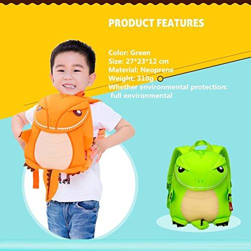 Hanaya School Kids Cartoon Bolsa de regalo, los niños escuela Mochilas, las niñas niños mochilas, bolsas de escuela, niño y niñas de la escuela mochilas, color naranja dinosaurio (13* 10.2* 6,3pulg Green-13*10.2*6.3 inch