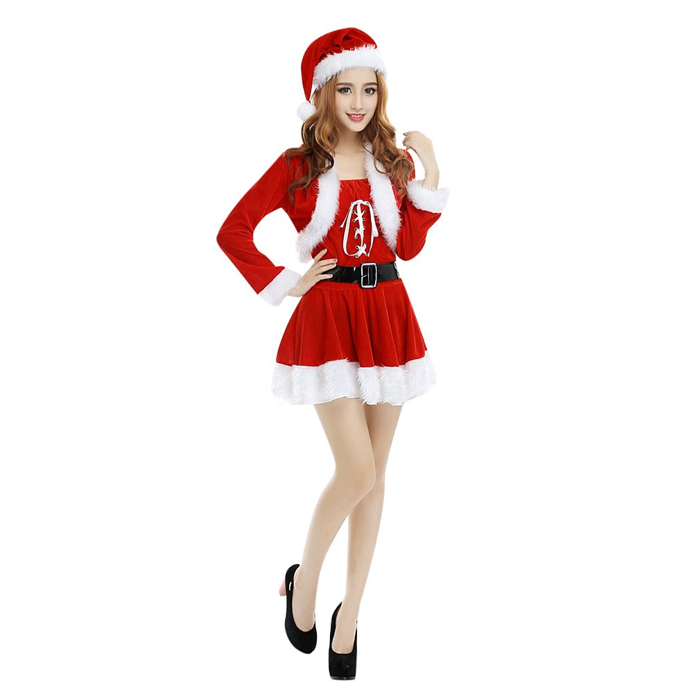 Xmas Christmas Miss Mrs Santa Claus Red Fur Wraps Dress Costume Fancy Party Suit Fashion Story SPS16030