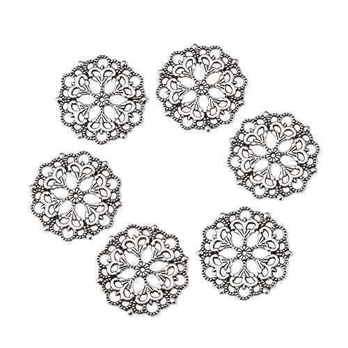Beadthoven 100-Piece 29mm/1.14''Inch Tibetan Style Filigree Flower Link Antique Silver Joiners Links Flat Round Charms Base Setting Connector for Jewelry Making Finding Supplies Lead Free & Nickel Fre - Charm Flower Filigree