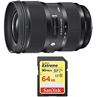 Sigma 24-35mm F2 DG HSM Standard-Zoom Lens for Canon EF Cameras Includes Bonus Sandisk 64GB Extreme SD Memory UHS-I Card w/ 90/60MB/s Read/Write