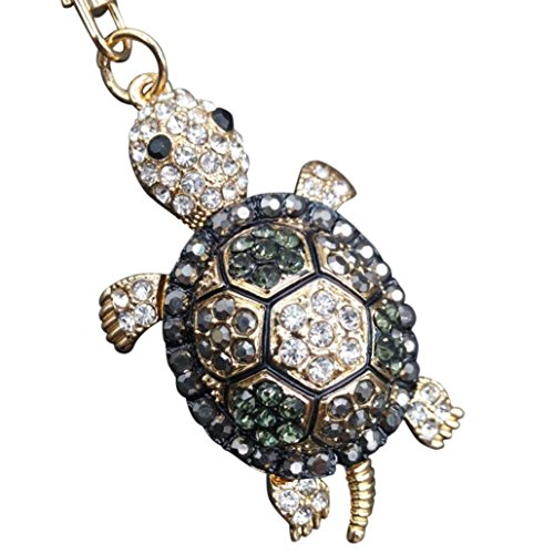 Price comparison product image BCDshop Tortoise Keychain,  Cute Rhinestones Alloy Key Chain Keyring Keychain Bag Pendant Gift (Gold)