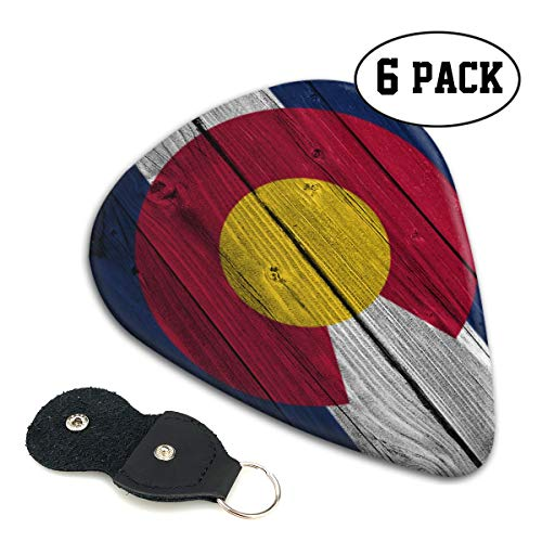WOODRAIN Colorado Flag Wood Pattern Guitar Picks 351 Shape Classic Picks Celluloid Paddles Plectrums 6-Pack .71mm