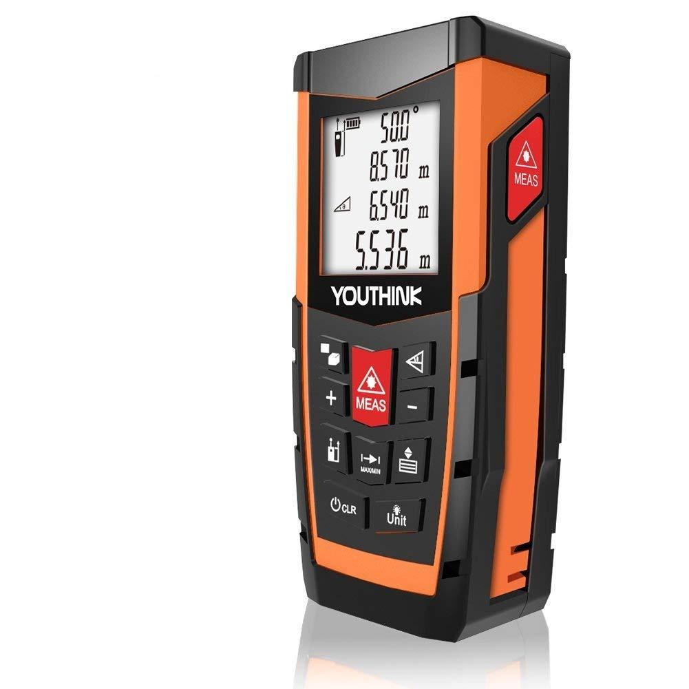 Telemetro Laser, Medidor Distancia Laser Electró nico de nivel 0.05m a 40-100m FT de Alta Precisió n ± 1.5mm con multimodos de Medició n y IP54 una larga vida de uso (40M) Ceyo