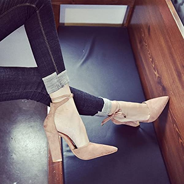 5e10b734f7f Women s Chunky Ankle Strappy Sandal Pointed Toe High Heels