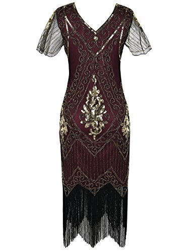 Dress Art Sleeve with Burgundy PrettyGuide gold Deco Flapper Women's Sequin Dress 1920s qnnT67EwC