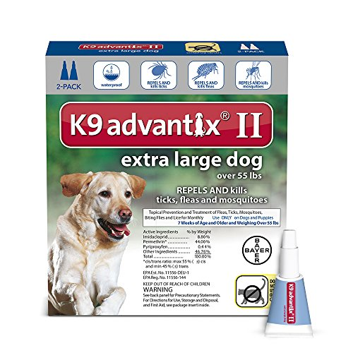 Dog Flea And Tick Control (K9 Advantix II Flea, Tick and Mosquito prevention for XLarge Dogs, over 55 lbs,  2 doses)