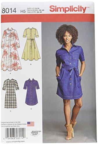 Simplicity Patterns Misses' Shirt Dress Size: H5 (6-8-10-12-14), 8014 (Misses Dress Shirt)