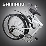 """New 26"""" Folding Mountain Bike Foldable Bicycle 6 SP Speed Shimano, White Color"""
