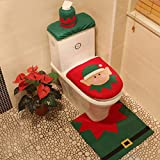 wlsomegoo Christmas Decoration 3pcs/Set Toilet Seat Cover & Foot Pad & Water Tank Cover Paper Towel Cover