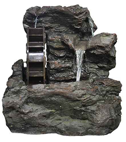 Alpine Corporation Rock Fountain with Wheel & White LED Lights (Fountain Wheel Water)