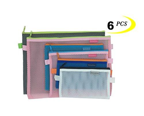 Mesh Large Organizer (Mesh Zipper Pouch, 6 PCS 3 Sizes, Zipper Bags Clear Zipper Pouch Small Organizer bag Zipper Folder Bag Cosmetic Bags Travel Storage Bags, Colour Random.)