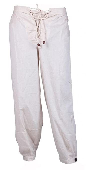 Women's Off-White Cotton Flax Costume Trouser Lady Pirate Pants by GothikShop
