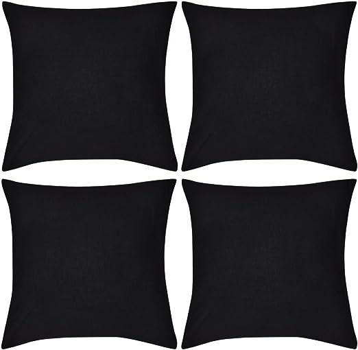 vidaXL 4X Fundas de Cojín de Algodón Negro 80x80 cm Cubierta de ...