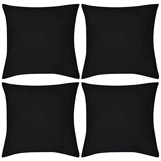 vidaXL 4X Fundas de Cojín de Algodón Negro 80x80 cm Cubierta de Almohada Sofá
