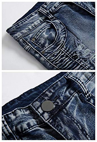 Casual Slim Strappati Uomo Retro Fit Colour Da Hole Pantaloni Stretch Stile Lavato Motociclista Denim Semplice Faltig Jeans 8XZqx