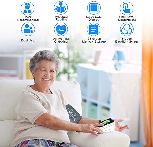 """Blood Pressure Monitor for Home Use with Large 3.5"""" LCD Display, Wowgo Digital Upper Arm Automatic Measure Blood Pressure and Heart Rate Pulse with Wide-Range Cuff,Three-Color Backlight Display 510fm dFMWL"""