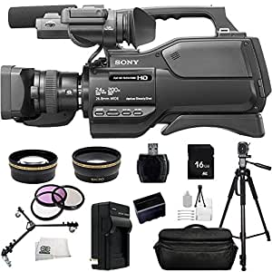 Sony HXR-MC2500E HXRMC2500E Shoulder Mount AVCHD Camcorder with 3-Inch LCD (Black) (PAL) With 16GB SSE Package Bundle Including: .43x Wide Angle & 2.2x Telephoto Lenses, 3 Piece Multi-Coated Filter Kit, LED Video Light, Replacement NP-F970 Battery, External Travel Charger, 16GB SD, Card Reader, Pro Fluid Head Tripod w/ Tripod Dolly, Waterproof Shockproof Carrying Case and MORE