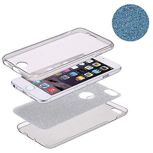 König-Shop Full TPU Case für Apple iPhone 8 Schutz Hülle Handy Glitzer Cover Blau