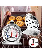 2 Pcs Oven Thermometer, Stainless Steel Grill/Smoker Monitoring Thermometer, Easy-Read Cooking Thermometer with Hook and Panel Base(50-300°C/100-600°F)